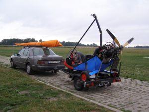 Motolotnia przygotowana do transportu.