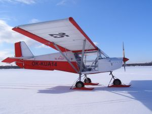 SkyRanger on skis in winter